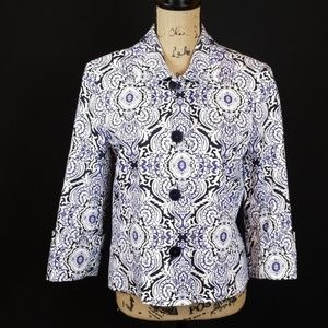 Jones New York  paisley blue crop jacket Rk:8:719